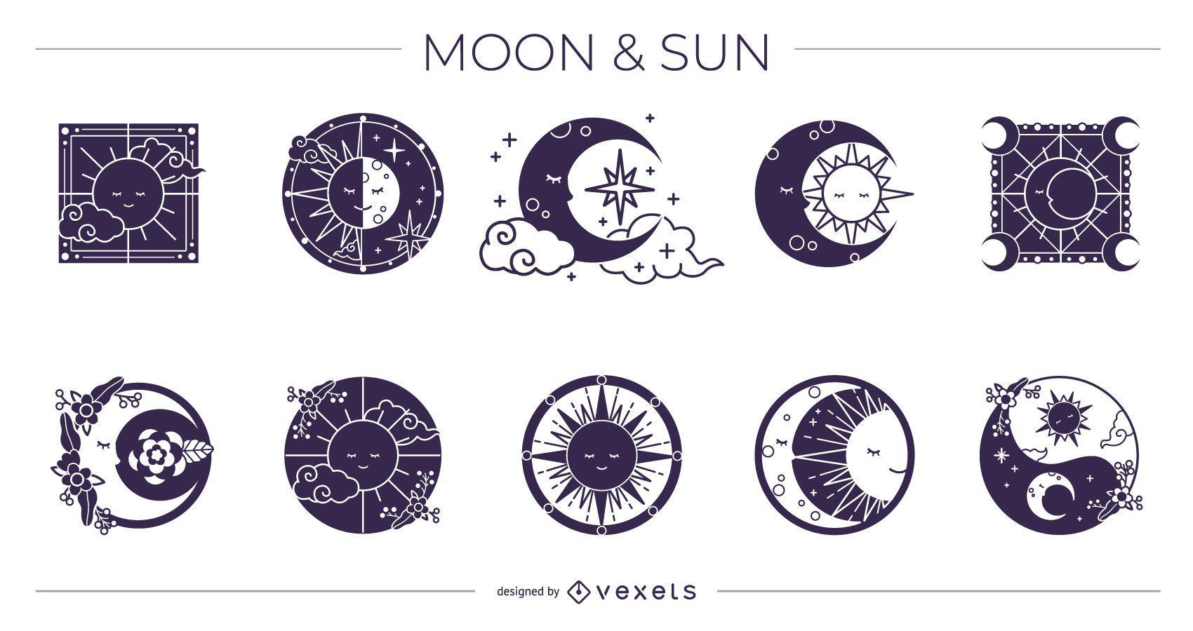 Pacote de design de silhueta de lua e sol