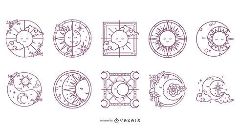 Moon and Sun Stroke Design Pack