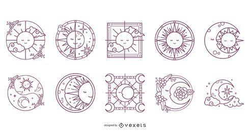 Paquete de diseño de trazos de sol y luna