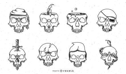Paquete de diseño de cráneo de trazo