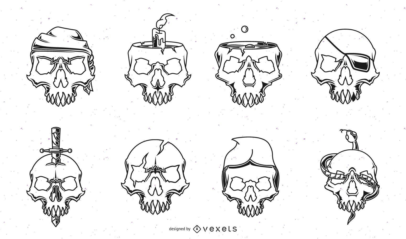 Stroke Skull Design Pack