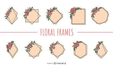 Conjunto plano de quadros florais