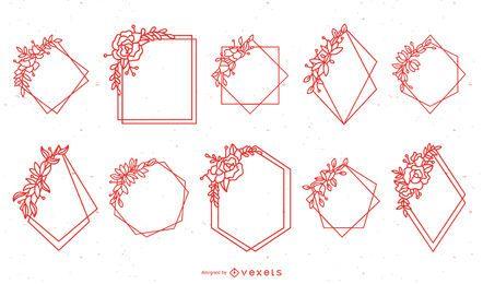 Pacote de quadro floral geométrico