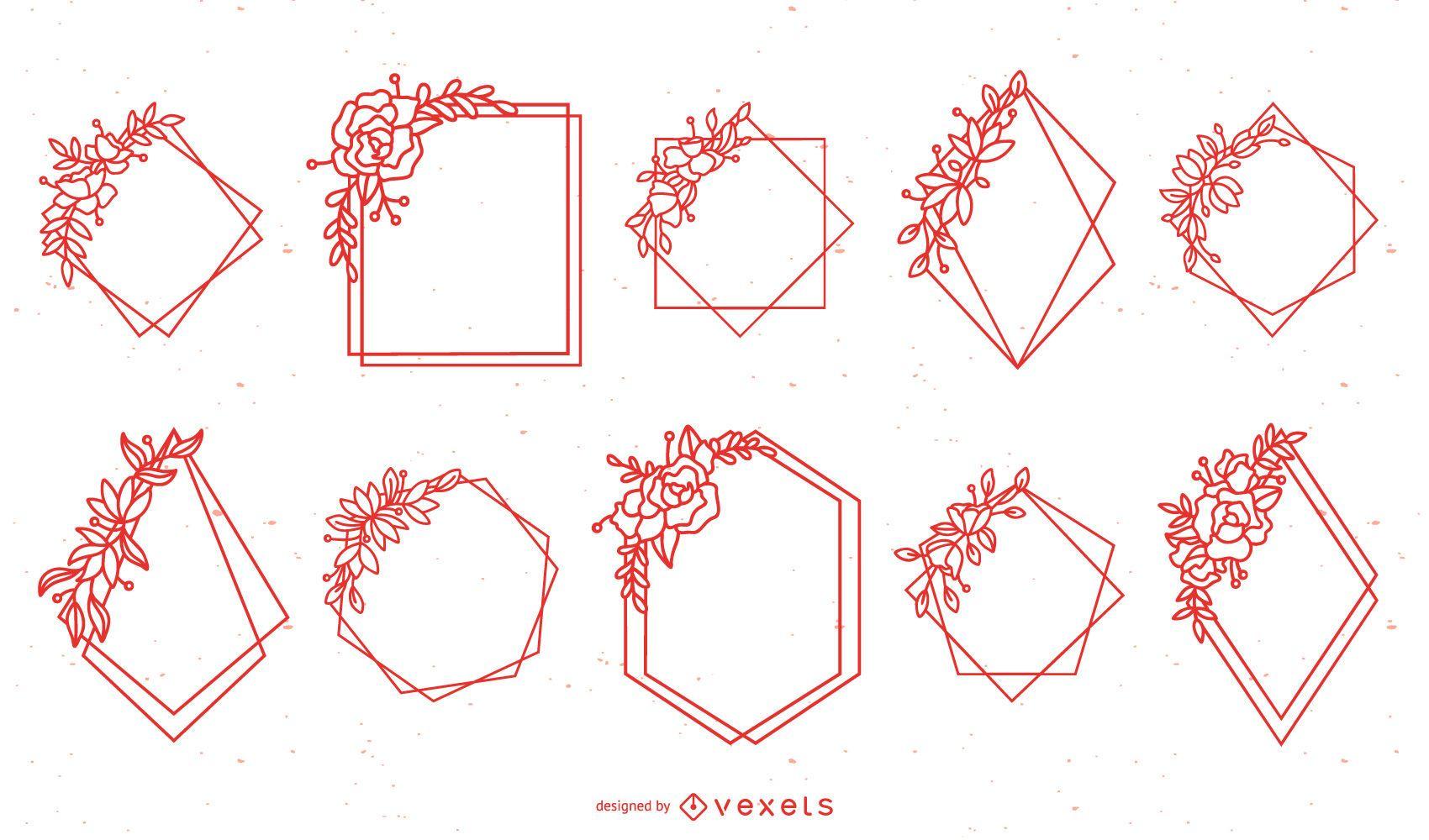 Pacote de moldura floral geométrica