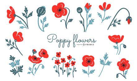 Conjunto de ilustración de flores de amapola
