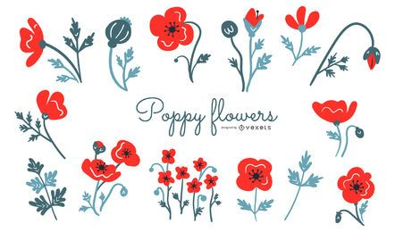 Poppy flowers illustration set