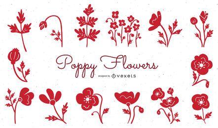 Conjunto de ilustración de flores de amapola rojo