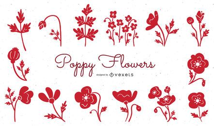 Poppy flowers red illustration set