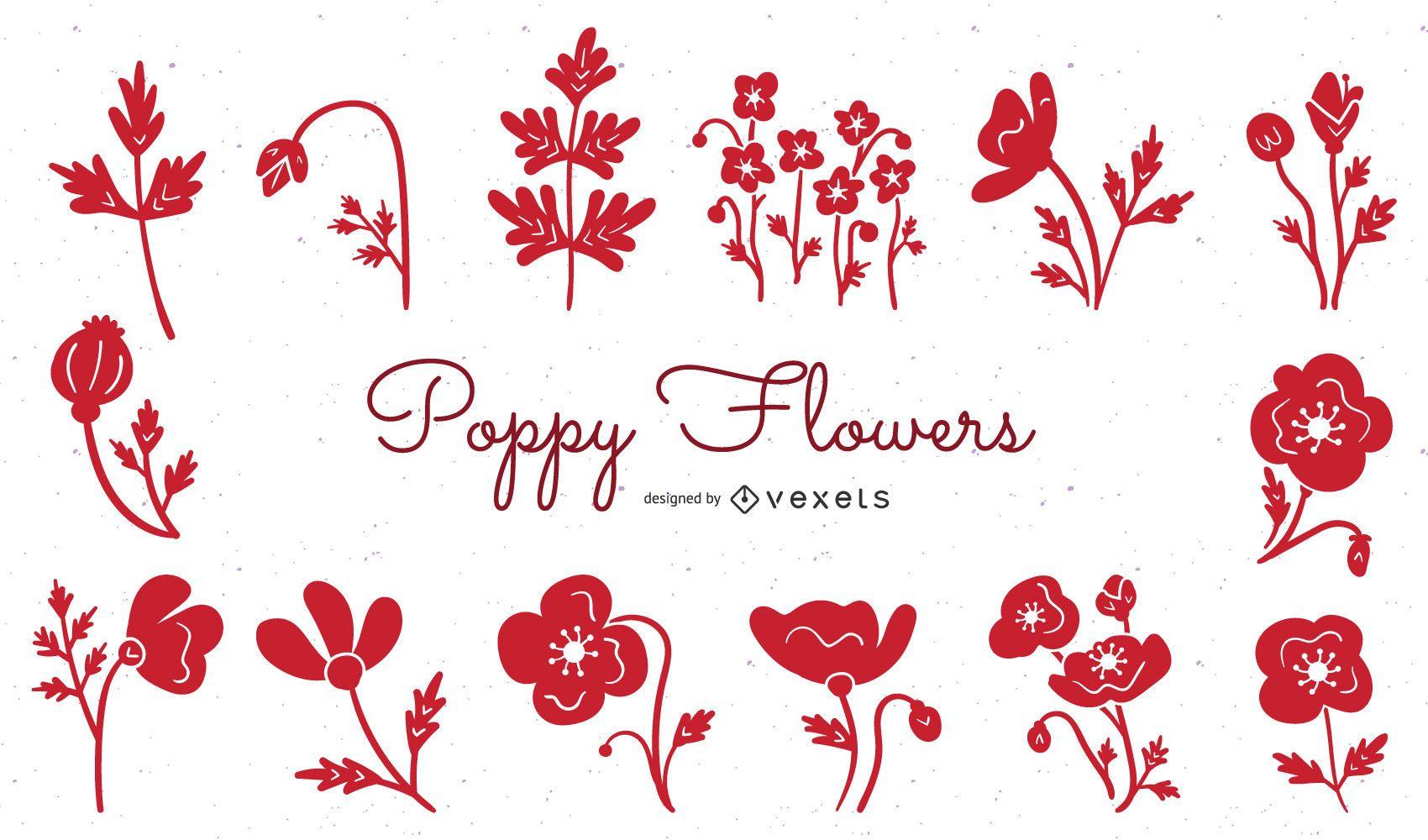 Poppy flowers red illustration set