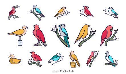 Coleção plana de pássaros coloridos