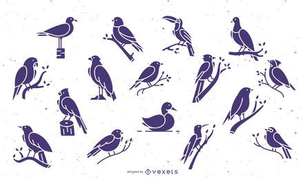 Birds purple flat collection