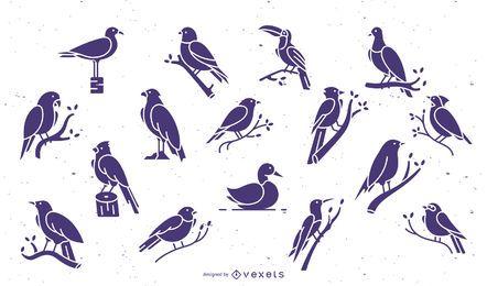 Coleção plana roxa de pássaros