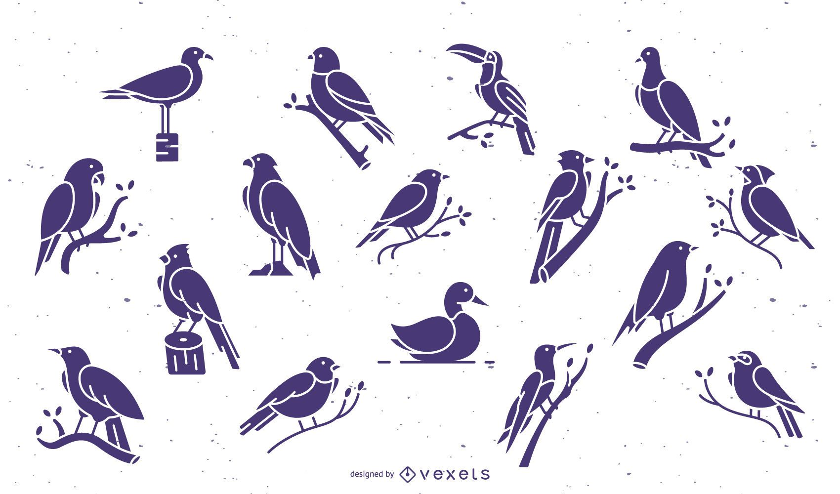 Birds purple flat collection