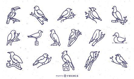 Coleção de traço de pássaros