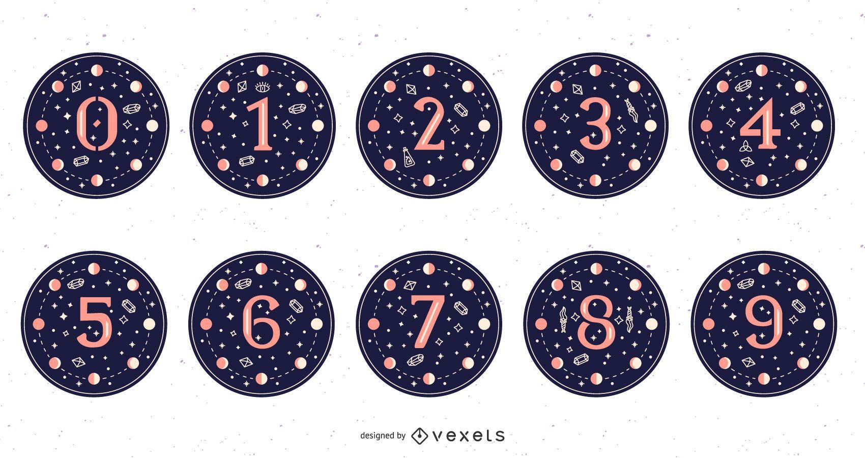 Conjunto de números mágicos luna