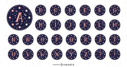 Pacote de Design Mágico da Lua do Alfabeto