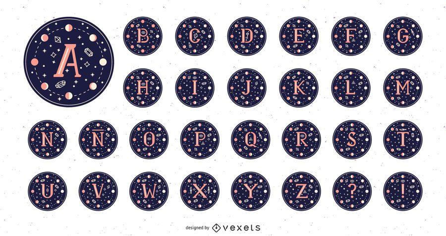 Paquete de diseño mágico de Alphabet Moon