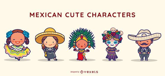 Mexican cute characters set