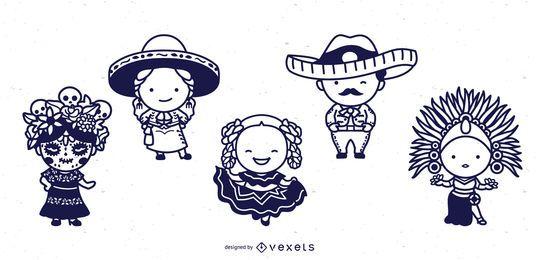 Conjunto de traços de personagens fofinhos mexicanos