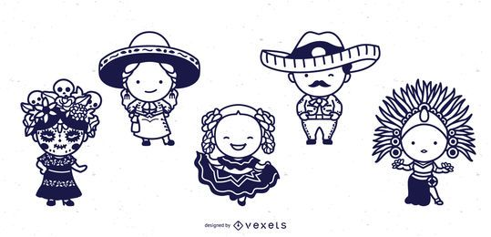 Mexican cute characters stroke set