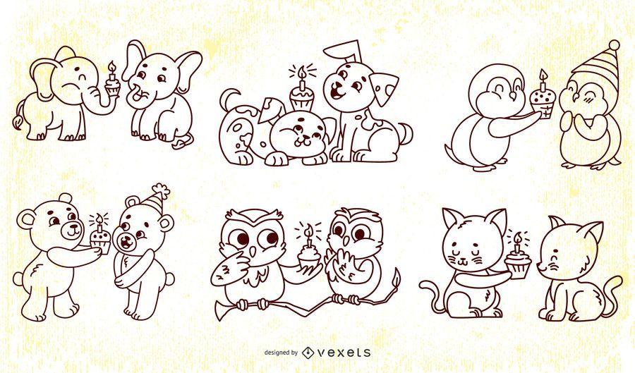 Cute birthday animals stroke collection