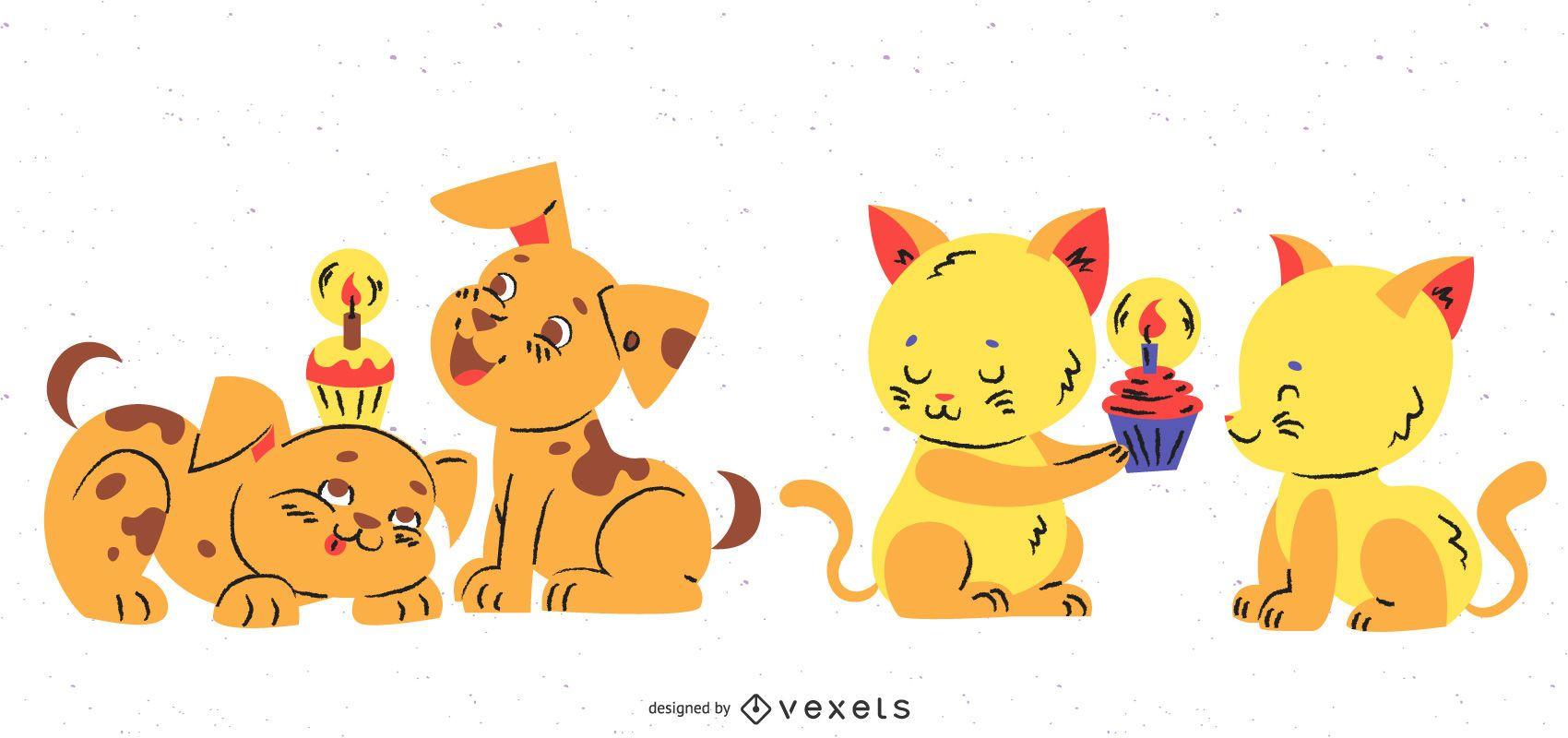 Cute animals birthday set