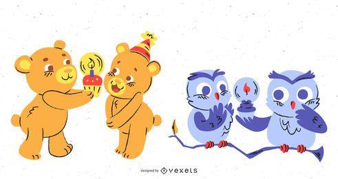 Set de cupcakes de cumpleaños de animales lindos