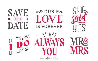 Conjunto de letras de boda