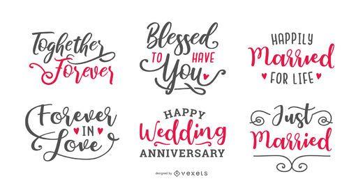 Conjunto de letras de casamento