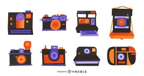 Conjunto plano de cámaras retro