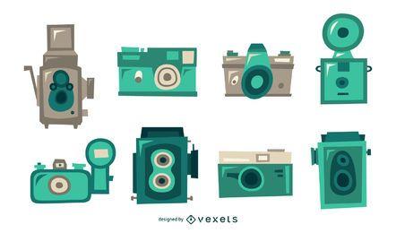 Pacote plano de câmeras retrô