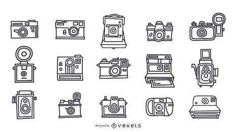 Coleção de traços de câmeras vintage