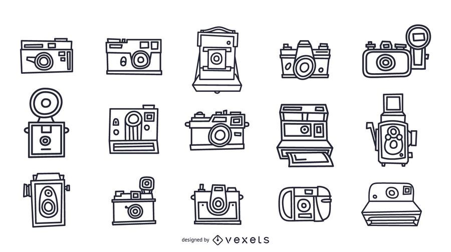 Vintage cameras stroke collection