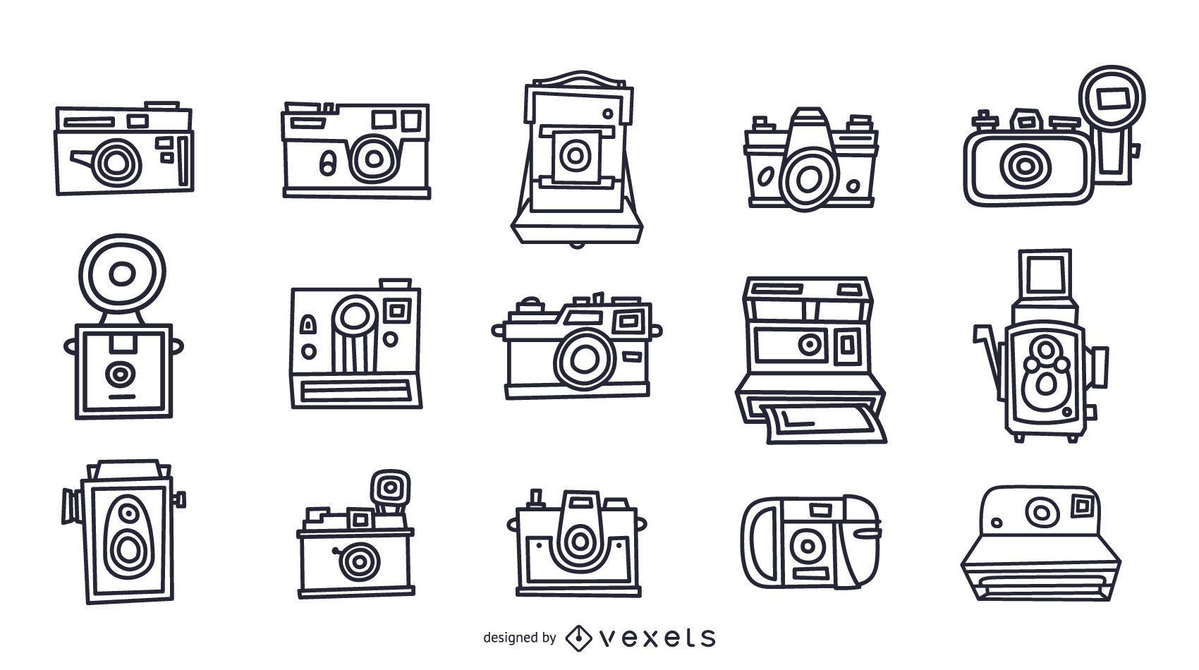 Vintage cameras stroke collection