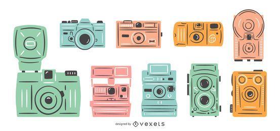 Conjunto colorido de câmeras vintage