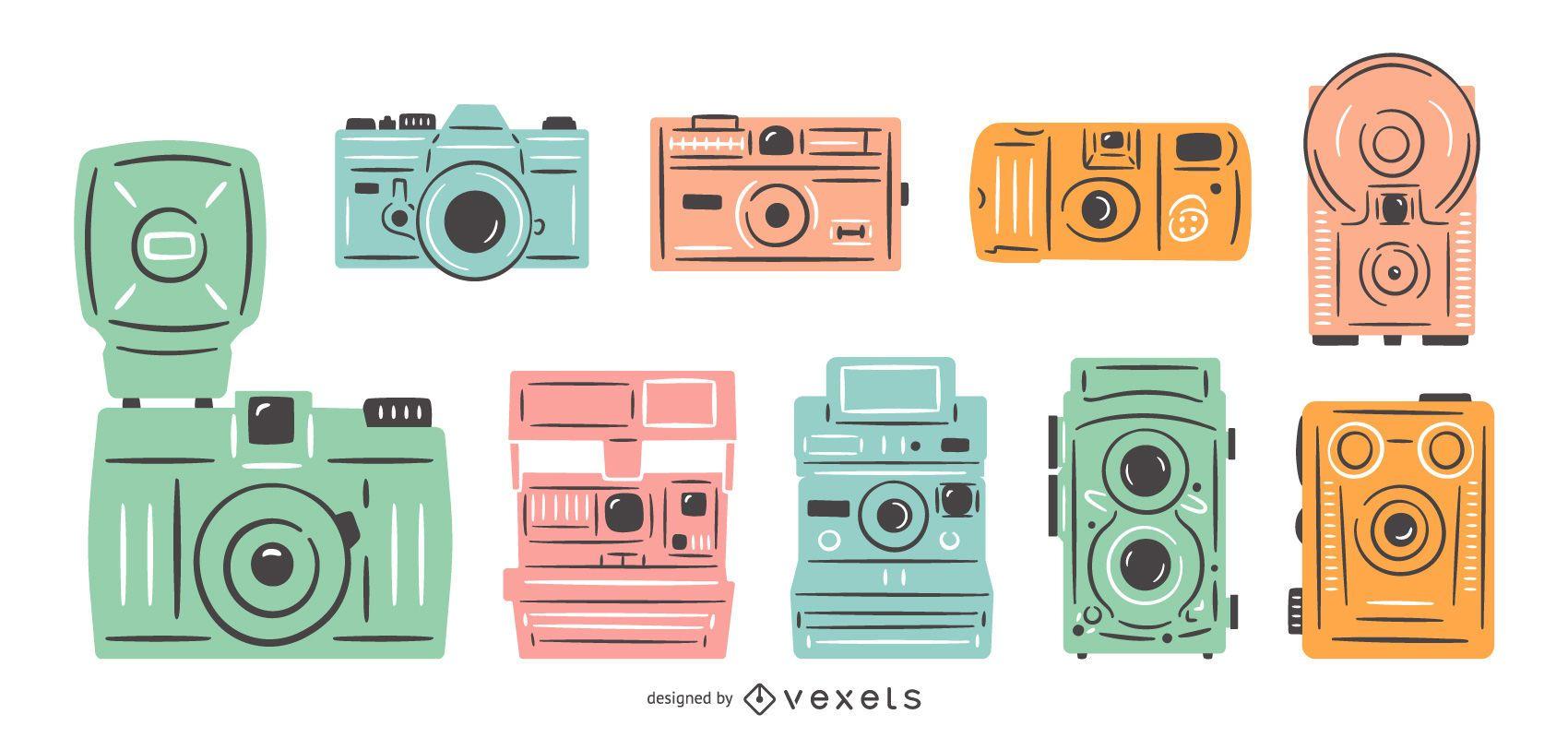 Vintage cameras colorful set