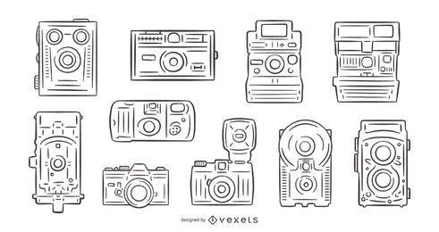 Pacote de câmeras vintage desenhadas à mão