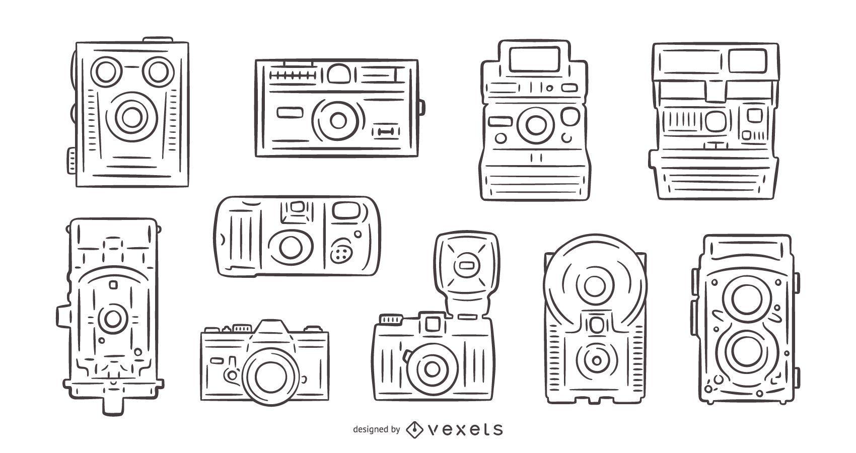 Vintage cameras hand drawn pack