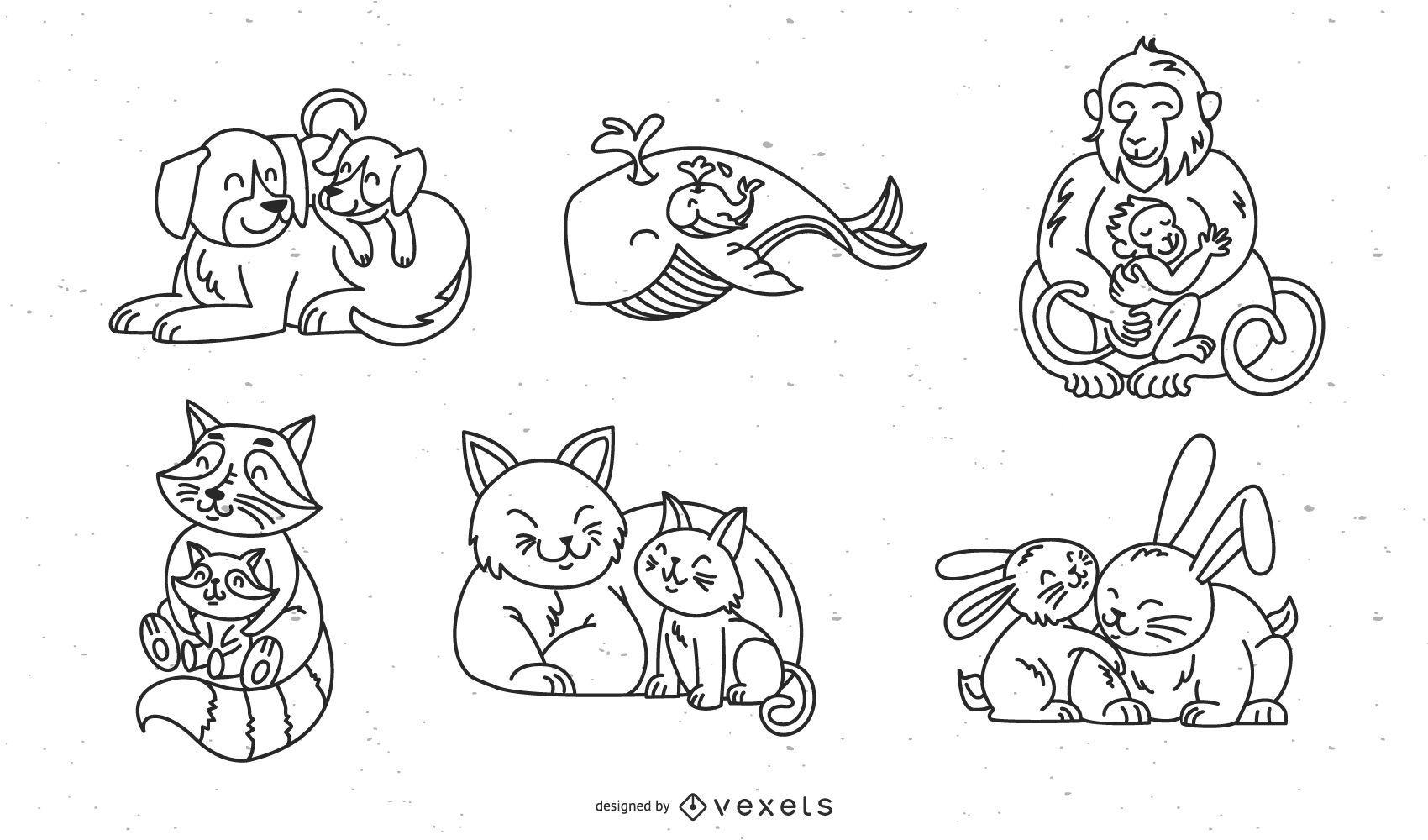 Animais fofos conjunto de braçada de pai e bebê