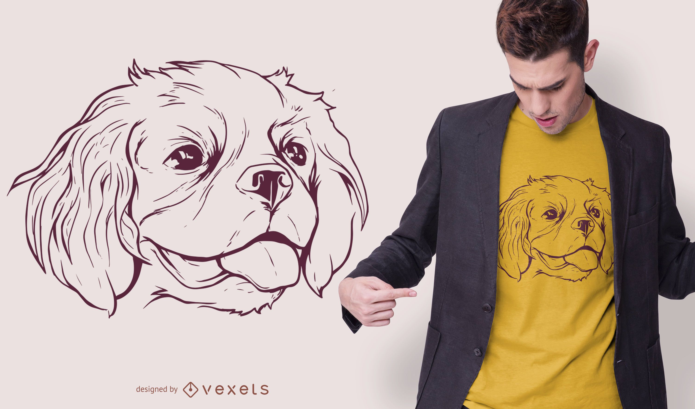 Line stroke Cavalier Dog T-shirt Design