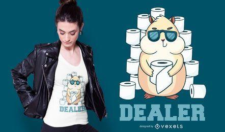 Diseño de camiseta de distribuidor de papel higiénico de hámster