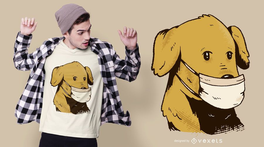 Dog With Face Mask T-shirt Design