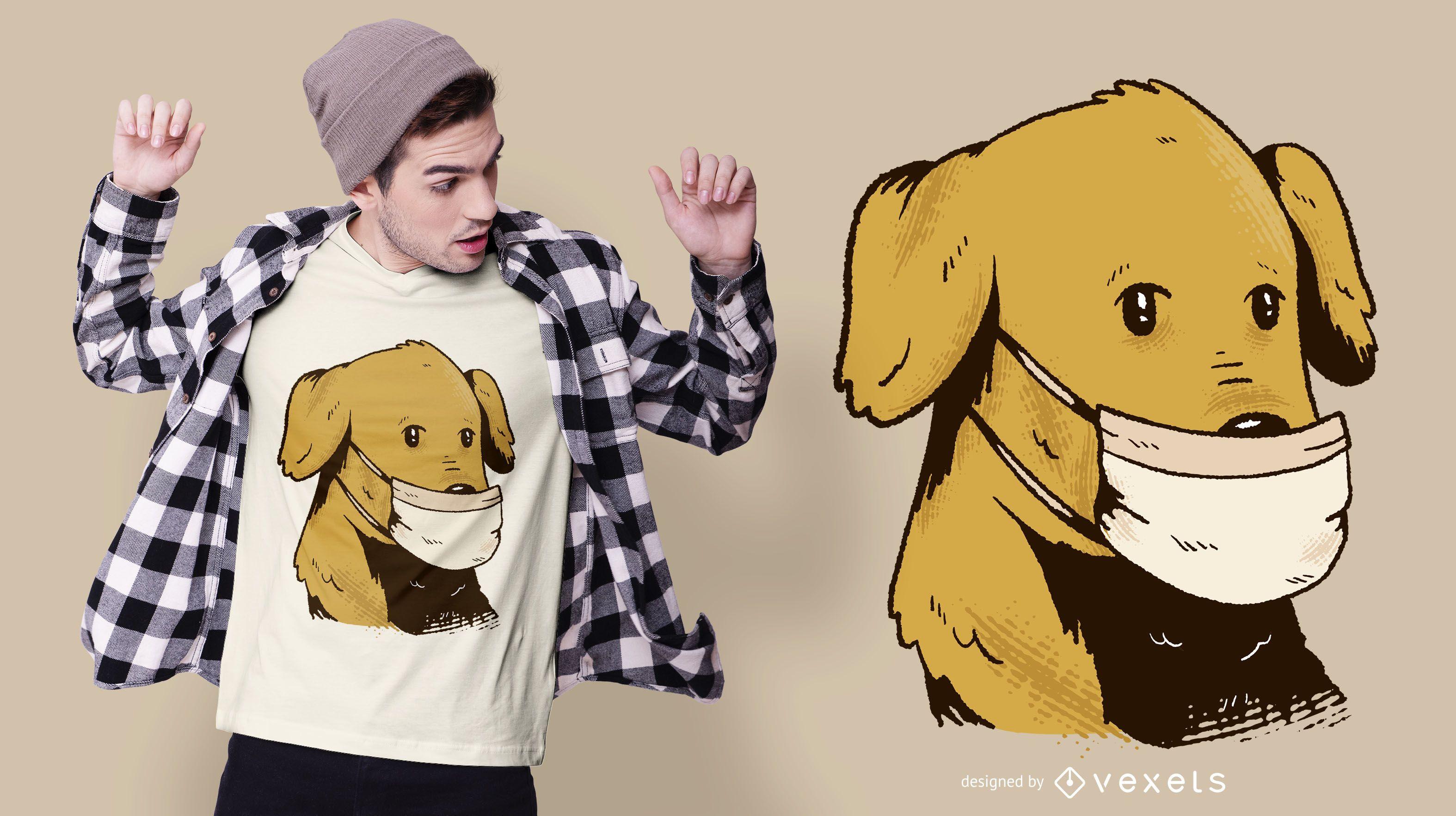 Dise?o de camiseta de perro con mascarilla