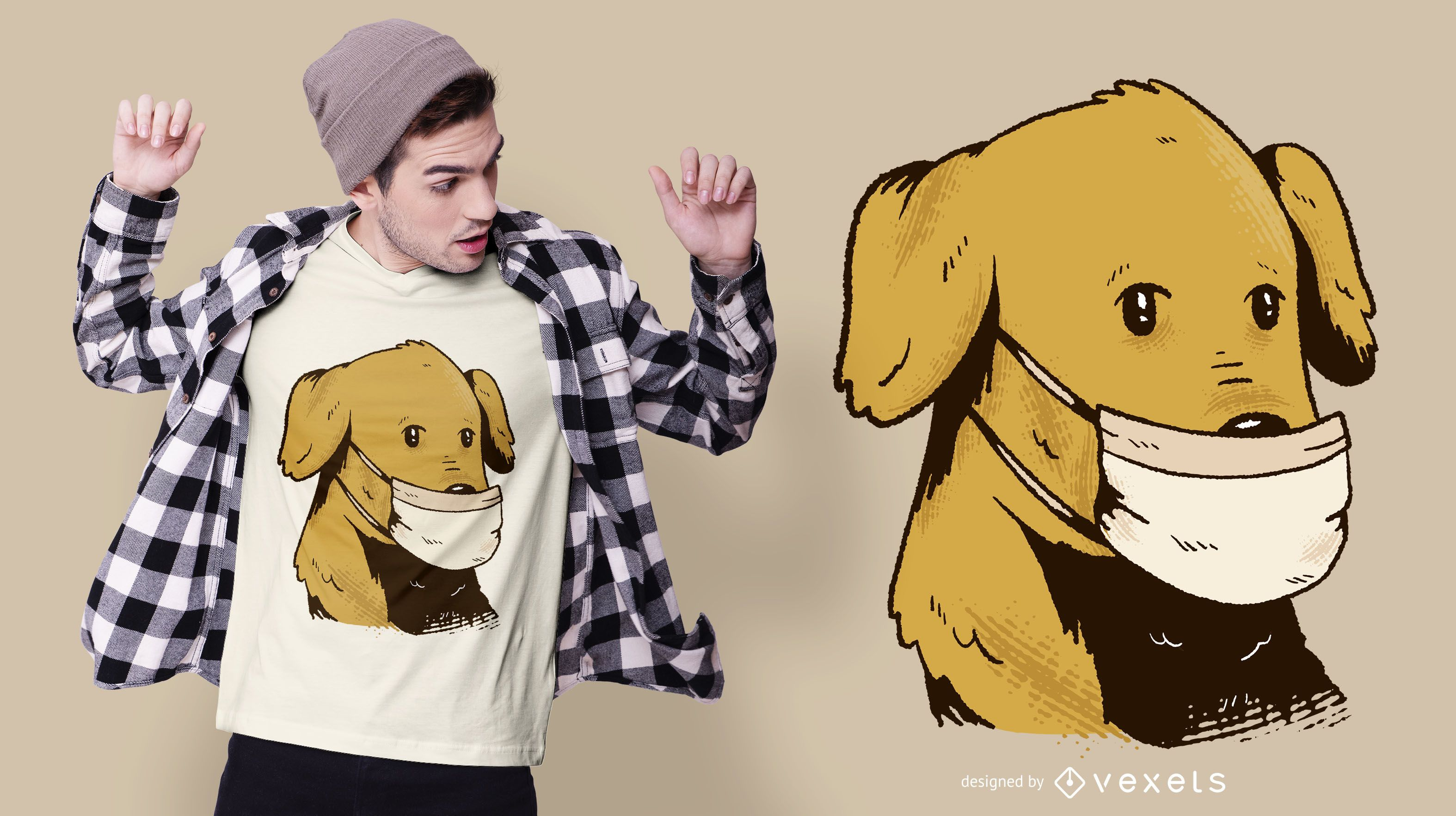 Dog With Face Mask T Shirt Design Vector Download