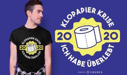 Diseño de camiseta de cita de crisis de papel higiénico alemán