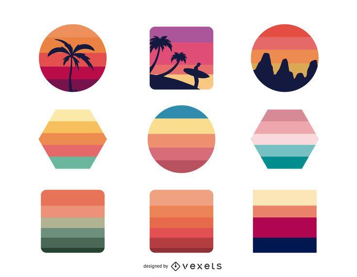 Pack de diseño plano Sunset Retro