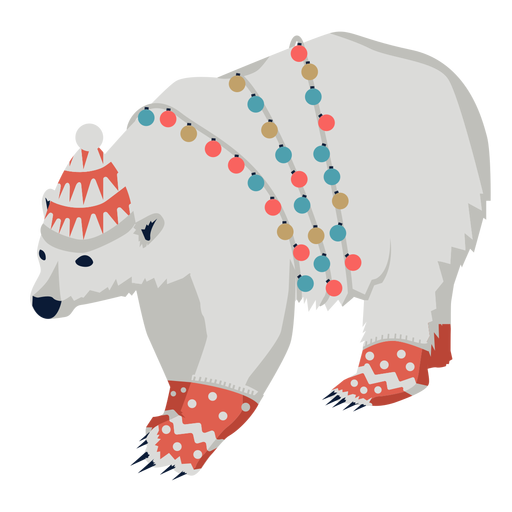Bear grizzly flat xmas Transparent PNG