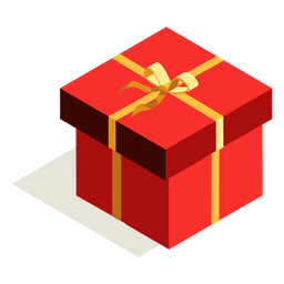 Bow gift box isometric