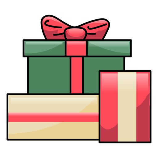 Caja regalo arco plano navidad Transparent PNG