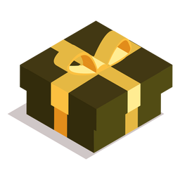Box gift bow isometric
